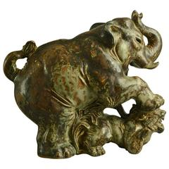 Large Stoneware Elephant Fighting a Tiger by Knud Kyhn for Royal Copenhagen