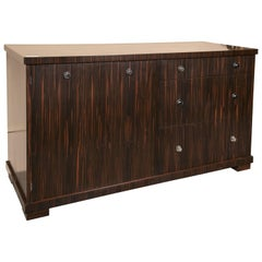 E.J. Victor Zebrawood Willie Chest Sideboard Ralph Lauren With Nickel Pulls