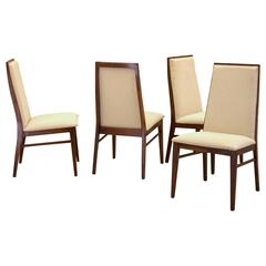 Set of Four Dining Walnut Chairs by Dillingham, New Knoll Textile Upholstery