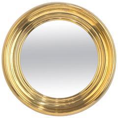 French Vintage Round Brass Mirror