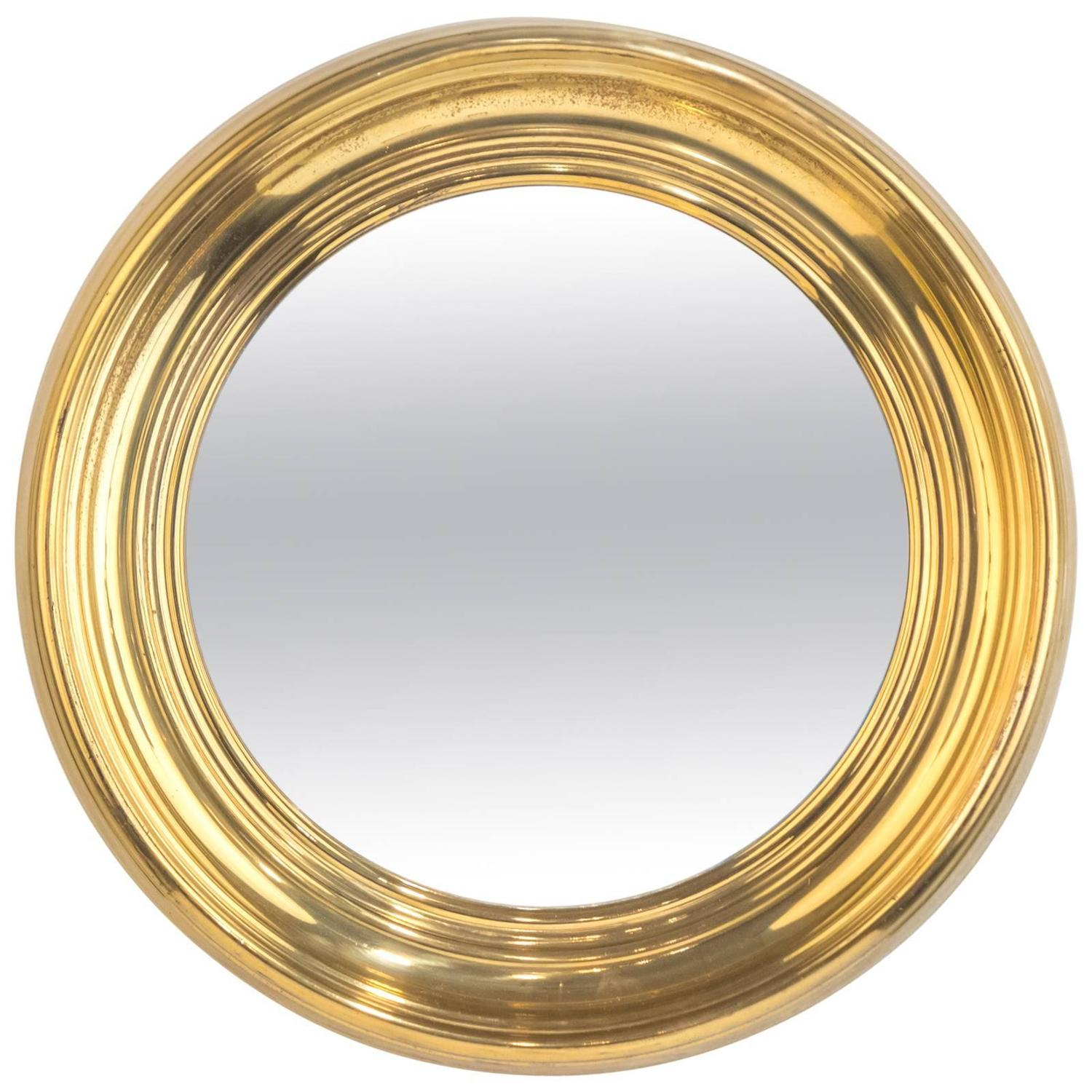 . french vintage round brass mirror at stdibs