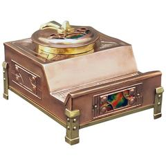 Arts and Crafts Enamel, Copper and Brass Inkstand, Probably English, circa 1900