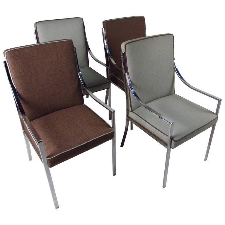 Set of contemporary modern chrome dining chairs for sale for Modern chrome dining chairs