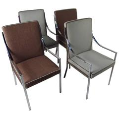 Set of Contemporary Modern Chrome Dining Chairs