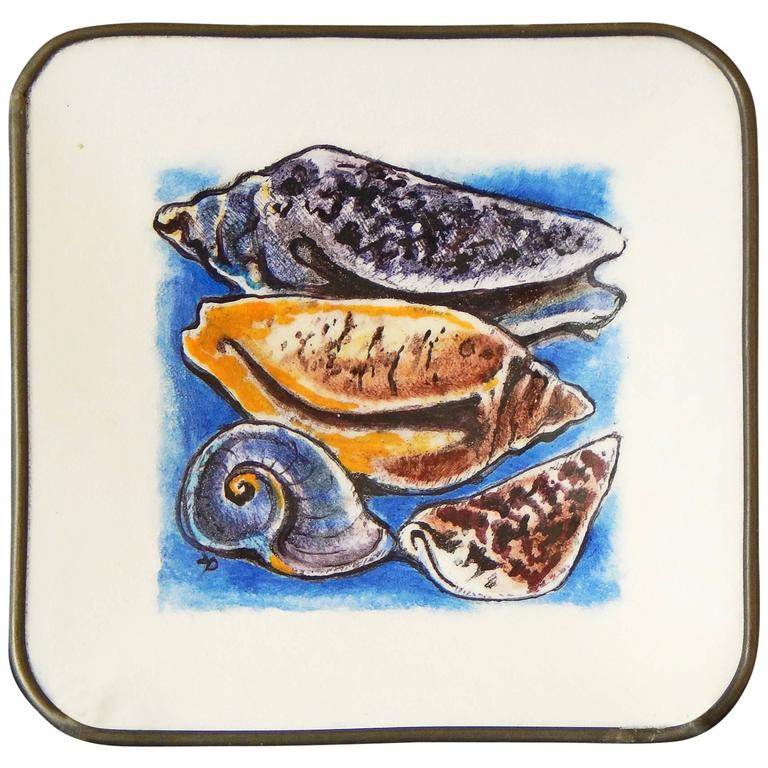 """""""Cones and Olives,"""" Superb Footed Enamel Dish Depicting Sea Shells"""