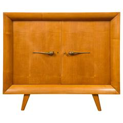 French Arte Moderne Cabinet  in sycamore by Guiguichon