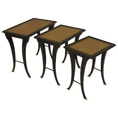 Set of Three 1940s French Ebonized Nesting Tables by Jansen