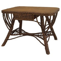 American Rustic Twig Table Desk with a Woven Top