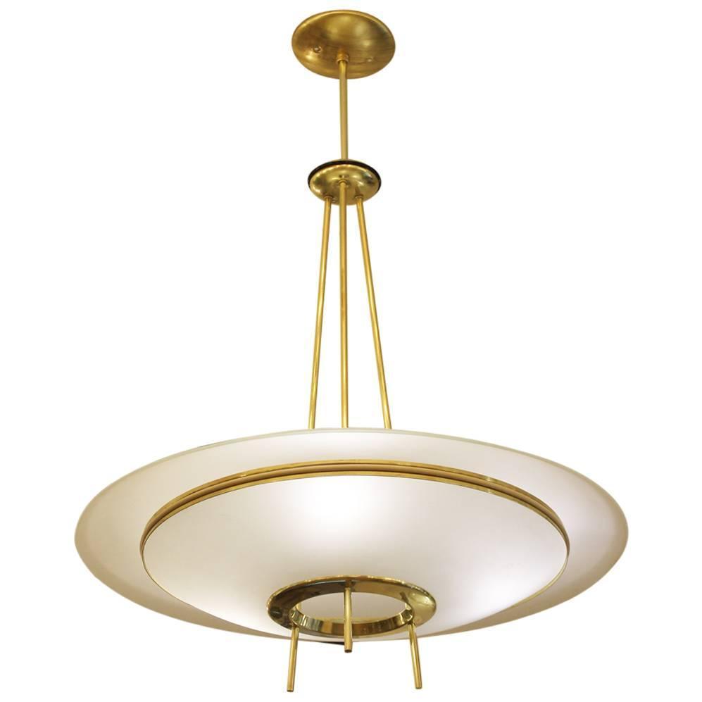 fontana arte style saucer chandelier italy 1960s at 1stdibs. Black Bedroom Furniture Sets. Home Design Ideas