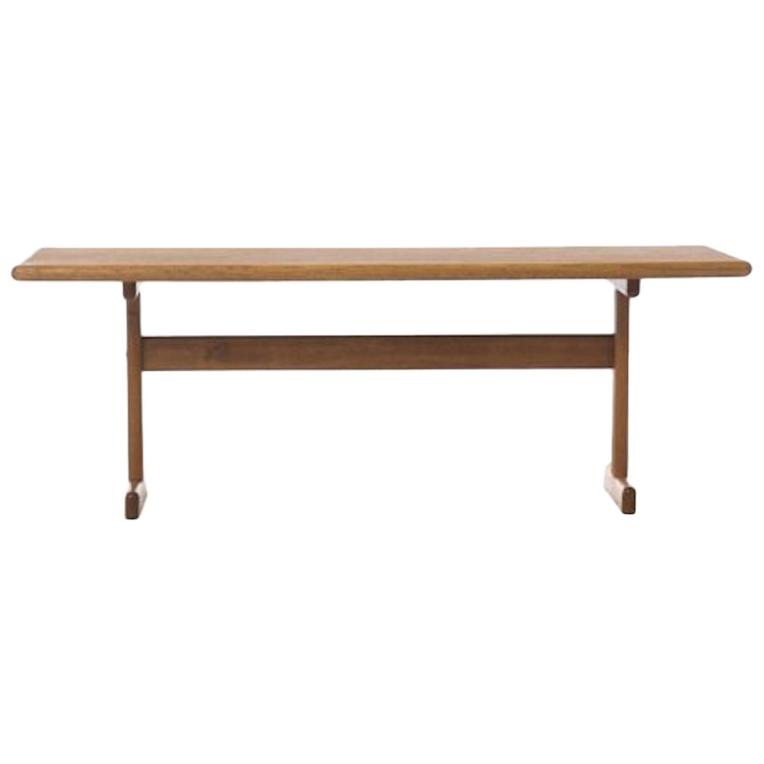 Vintage Danish Modern Coffee Table In White Oak For Sale