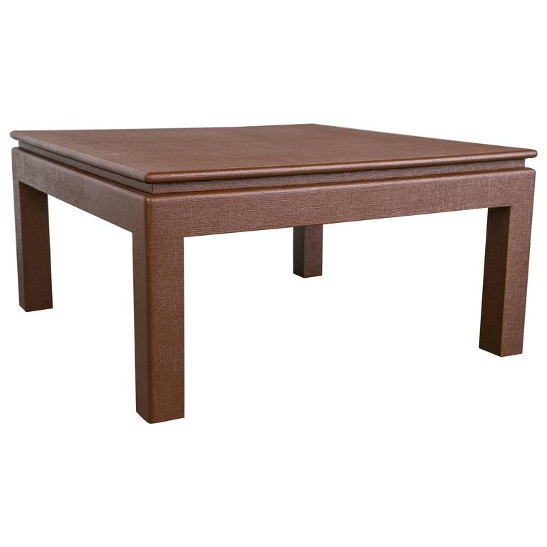 Karl Springer Style Floating Top Parsons Coffee Table At 1stdibs