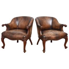 Superb Pair of Early 20th Century Leather Chairs