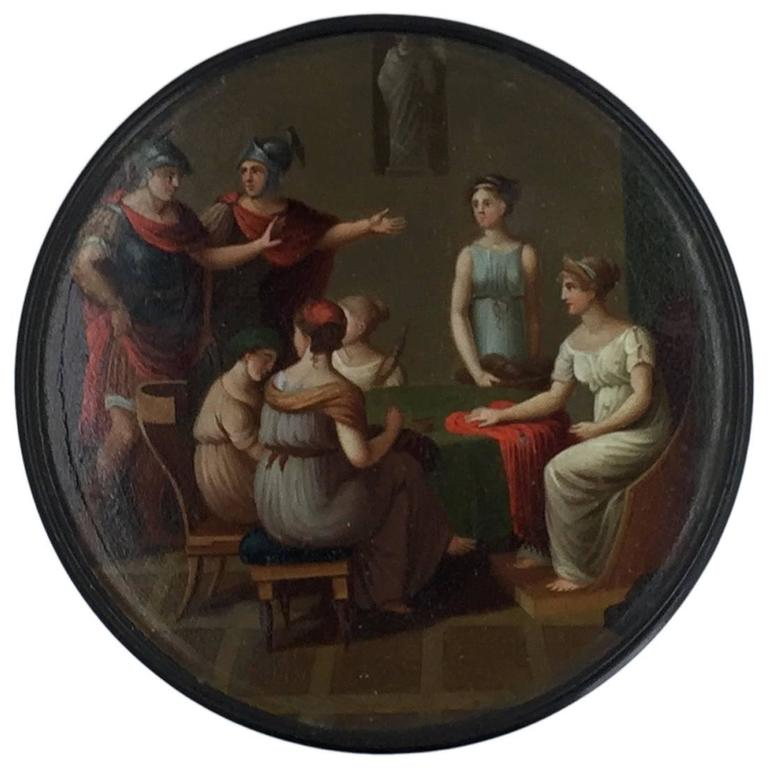 German Neoclassical Painted Lacquer Snuff Box, Early 19th Century