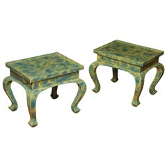 Pair of Small Low Green and Blue Occasional Tables