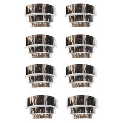 Art Deco Skyscraper Style Three-Tiered Chrome Banded Sconce, Set of Eight