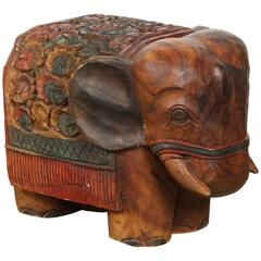 Hand-Carved Elephant Wooden Stool