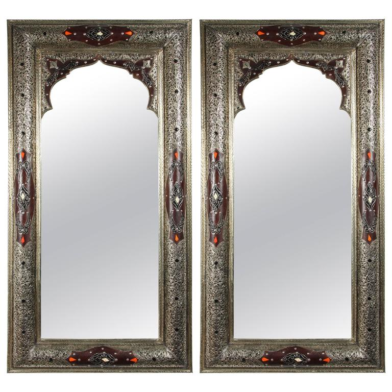 Moroccan mirror with silver and leather design for sale at for Silver mirrors for sale