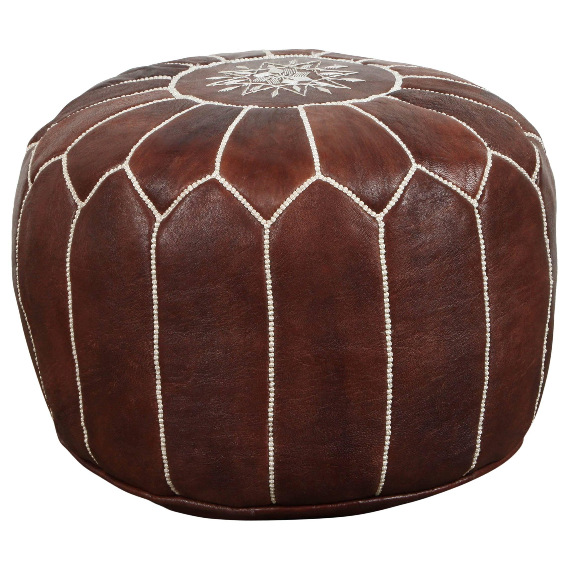 Moroccan Brown Hand Tooled Leather Pouf