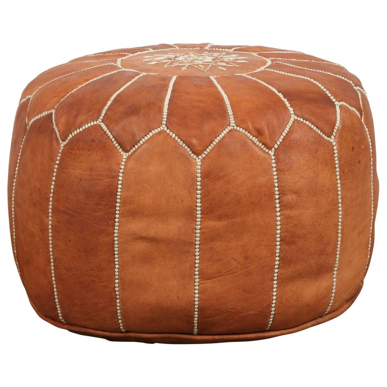 Moroccan Handcrafted Leather Camel Ottoman For Sale At 1stdibs