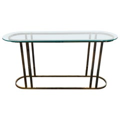 Midcentury Glass Top Console on Curved Brass Base