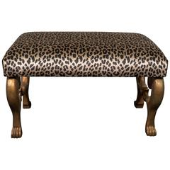 Midcentury Gilt Carved Egyptian Bench with Leopard Print Velvet Seat