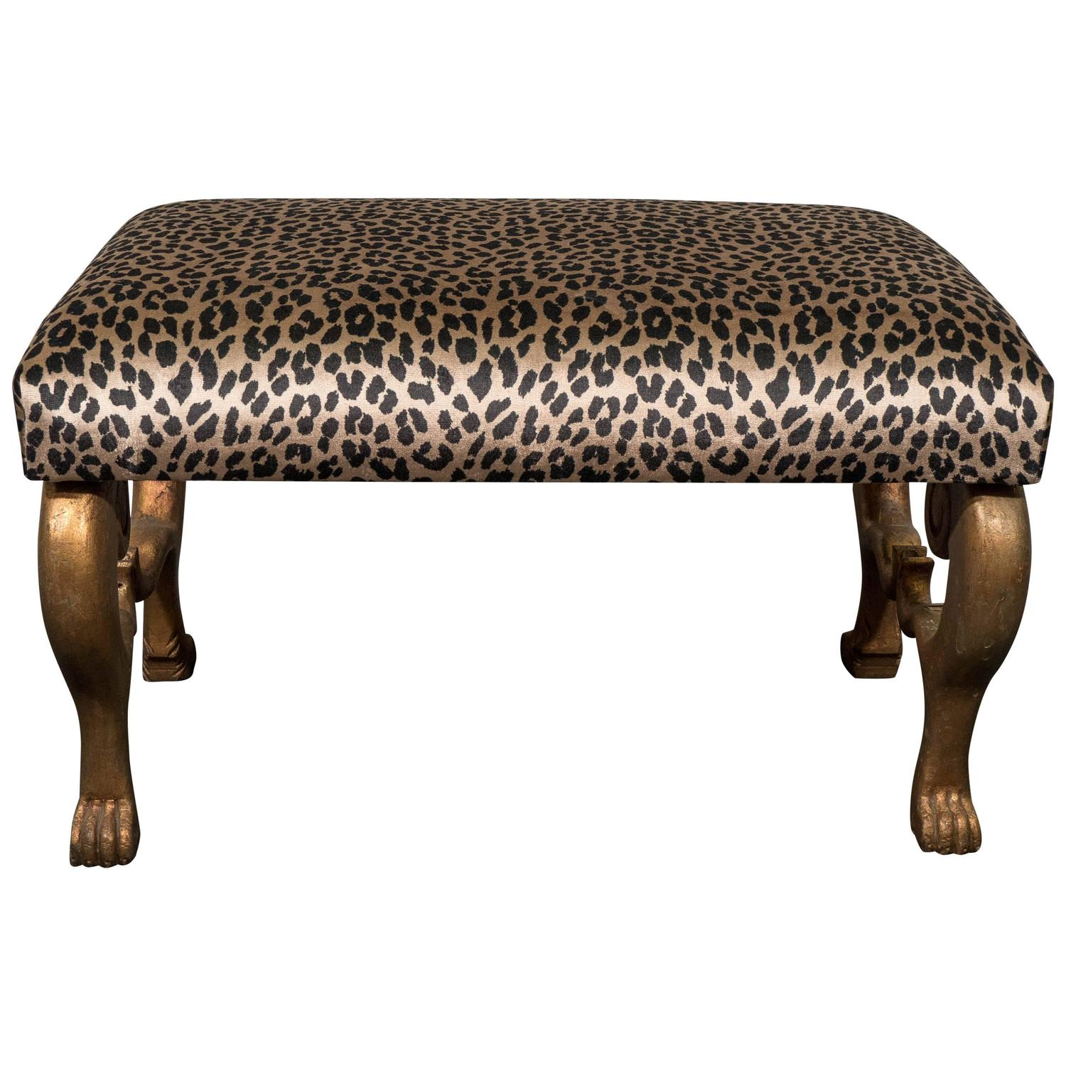 Midcentury gilt carved egyptian bench with leopard print Leopard print bench