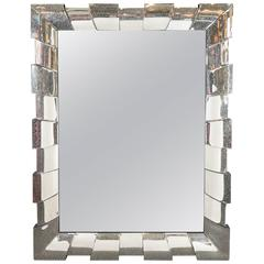 Large Rectangular Wall Mirror with Mirrored Sunburst Frame