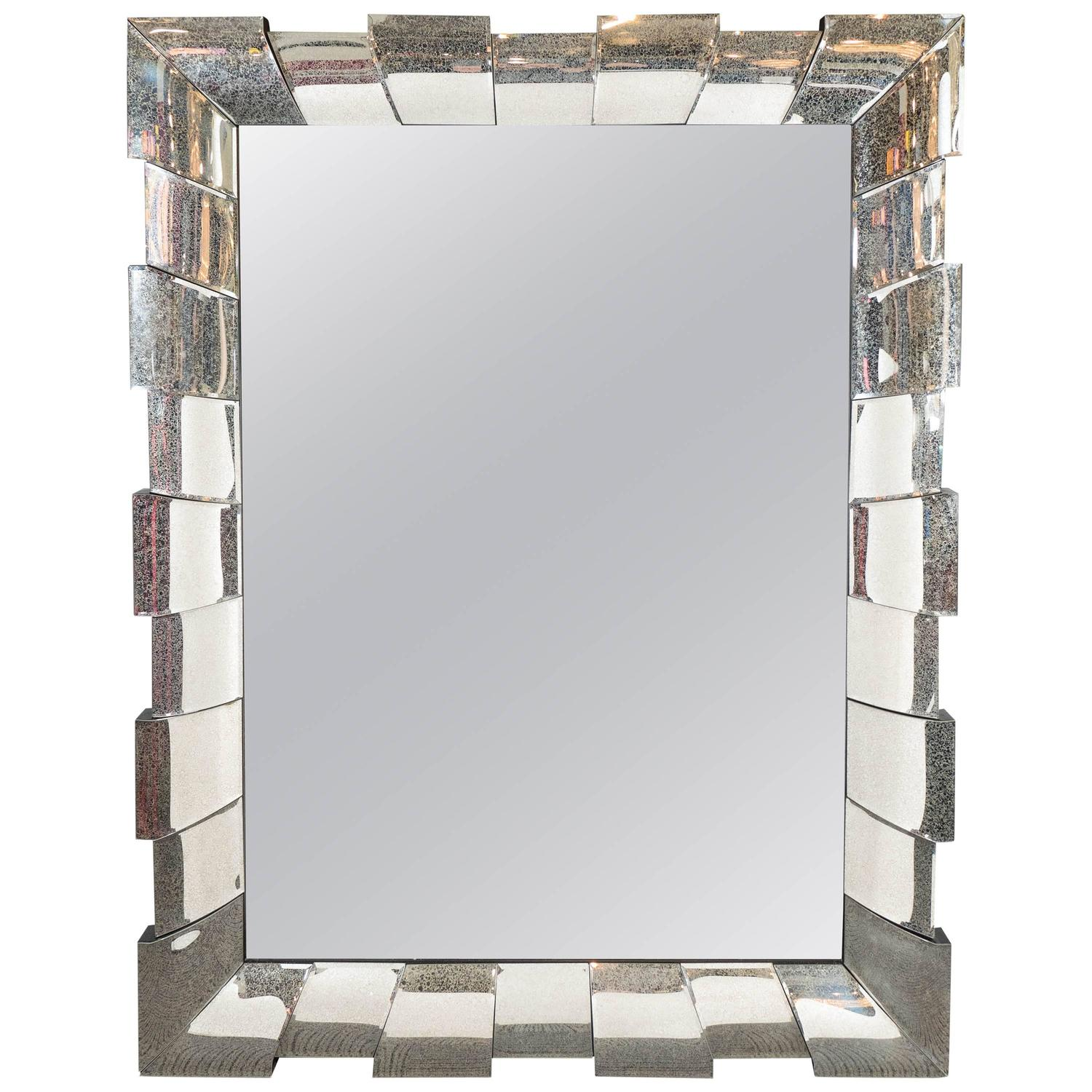 large rectangular wall mirror with mirrored sunburst frame for sale at 1stdibs