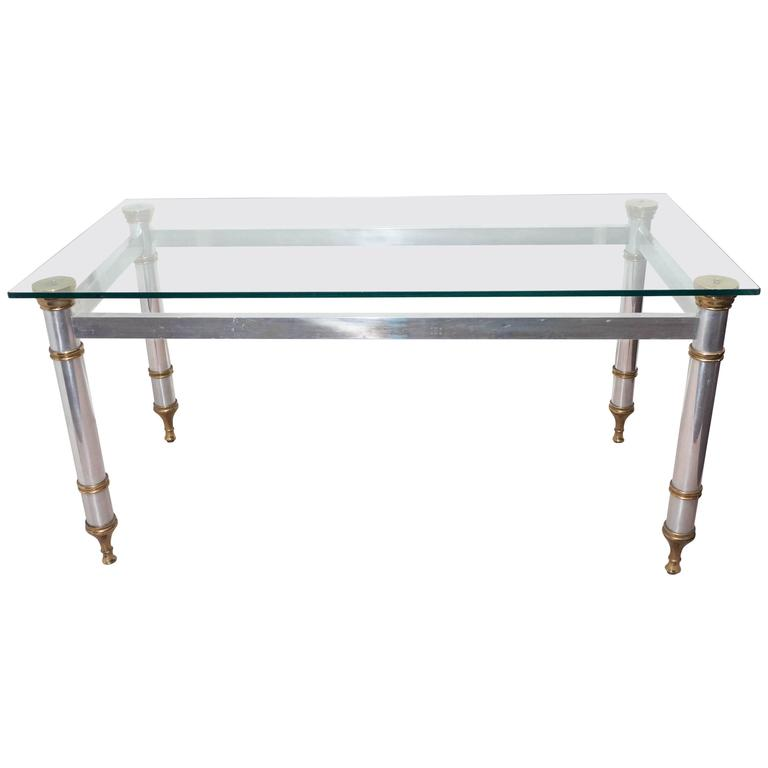Signed Maison Jansen Glass Top Dining Table or Desk