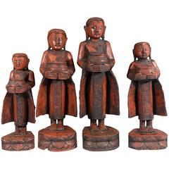Set of Four Carved Wood Myanmar Burmese Monks with Offering Bowls