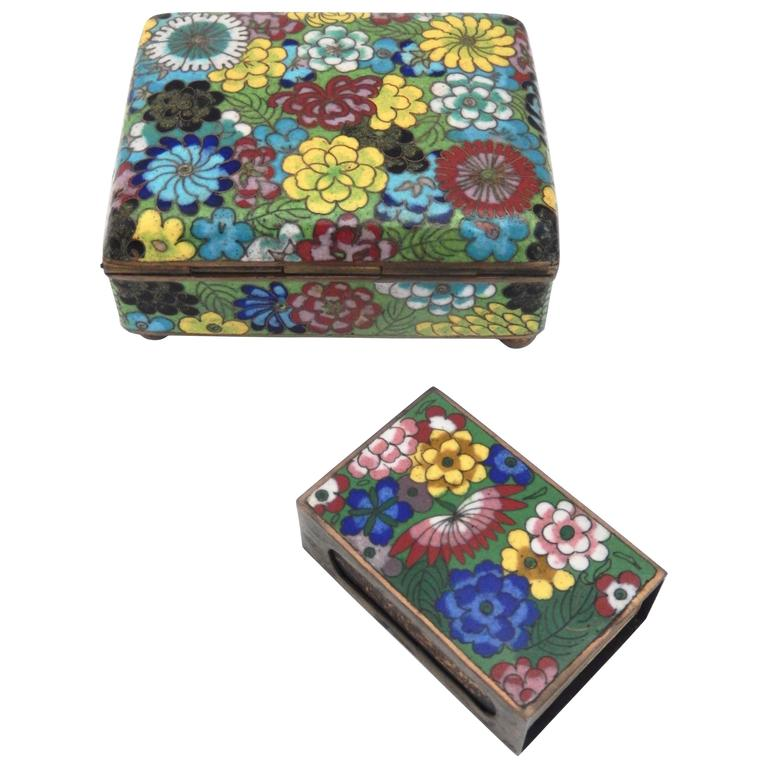 Vintage Cloisonné Cigarette Box and Match Holder with Floral Motif For Sale