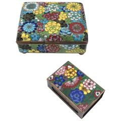 Vintage Cloisonné Cigarette Box and Match Holder with Floral Motif