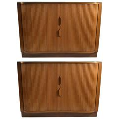 Pair Dunbar Mr. Chests With Tambour Roll Fronts