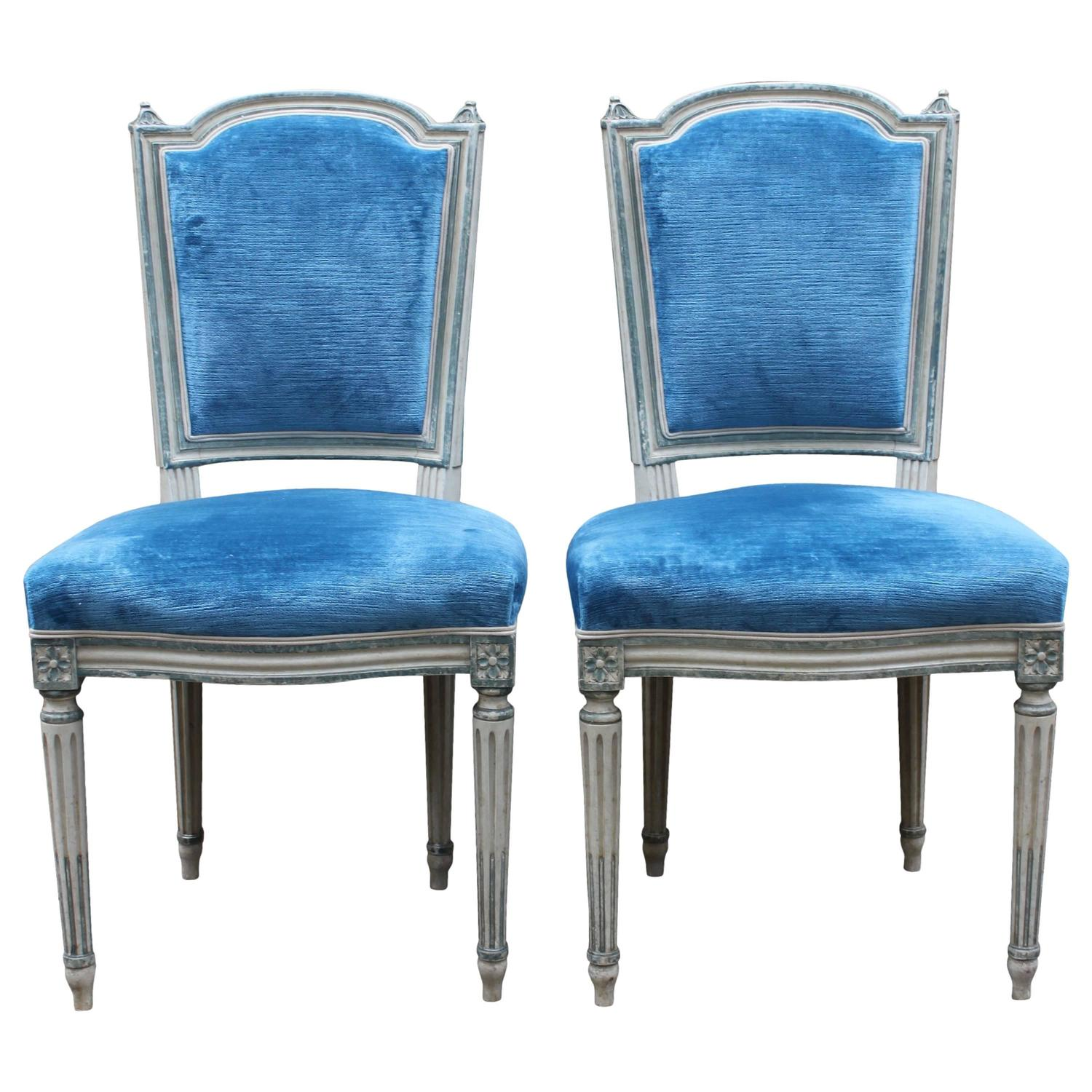Pair of french blue and white painted louis xvi style dining side chairs 1940s for sale at 1stdibs