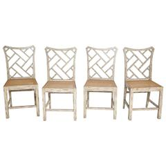 Four Vintage Chinese Chippendale Side Chairs