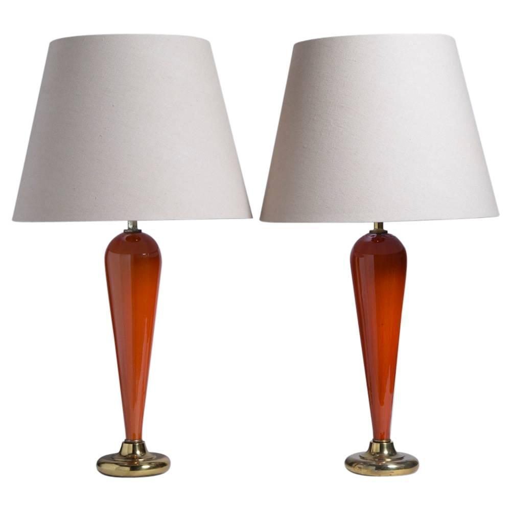 Elegant Pair Of Murano Orange Glass Table Lamps 1960s At