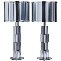 Pair of Curtis Jere Sculptural Metal Table Lamps, 1970s