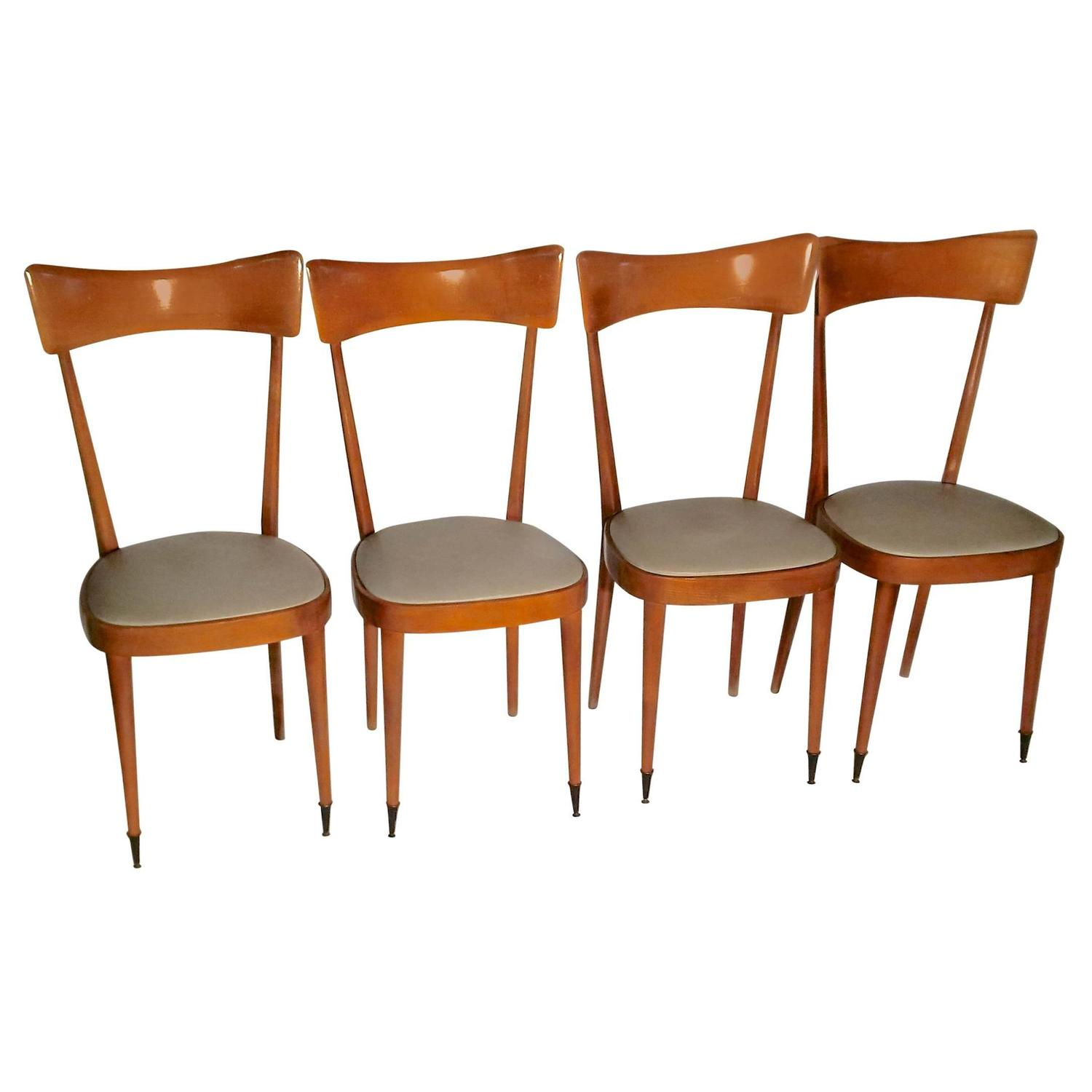 Set Of Four Ico Parisi Style Mid Century Italian Dining