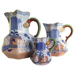 "19th Century TRIO of Mason's Iron Stone Jugs or Pitchers, ""Jardiniere Pattern"