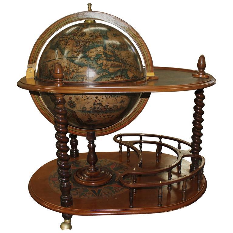 French Mid Century Modern World Globe Bar Circa 1960s 1