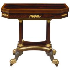 Very Fine Brass-Inlaid Gilt Bronze-Mounted Games Table by Duncan Phyfe