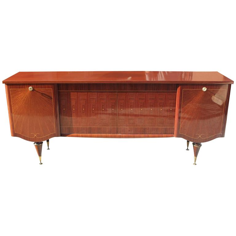"Art Deco/ Art Modern Sideboard / Buffet Macassar Ebony ""Sunray"", circa 1940 For Sale"