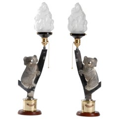 Trench-Art, Shell Casing Pair of Table Lights in the Form of Koalas, 1940