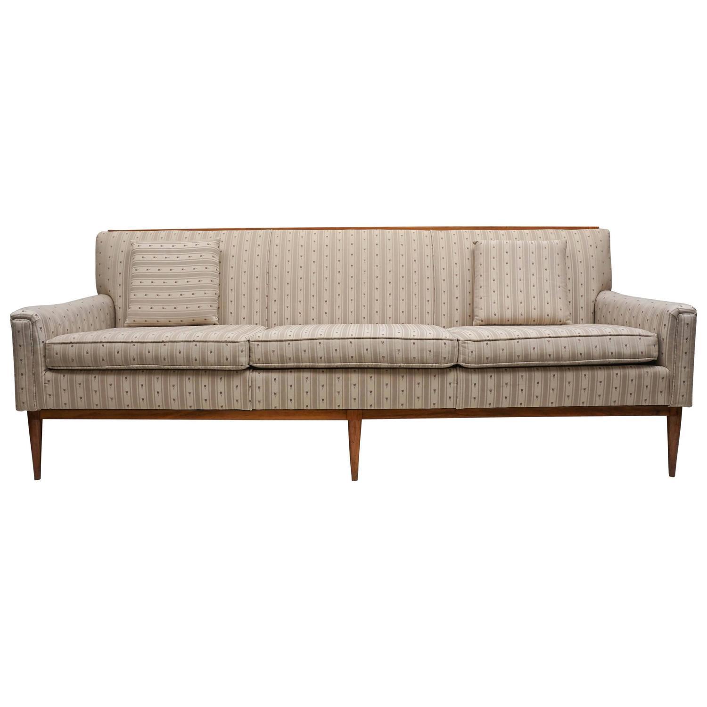 1950s midcentury paul mccobb wood trim sofa