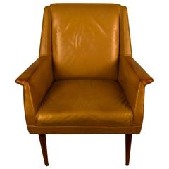 Gold Finish Leather Mid Century Lounge Chair