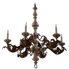 Large Italian Tole and Painted Wood Six-Light Chandelier