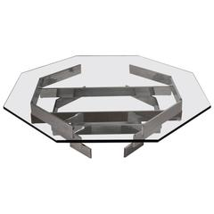 Chrome and Glass Octagonal Coffee Table