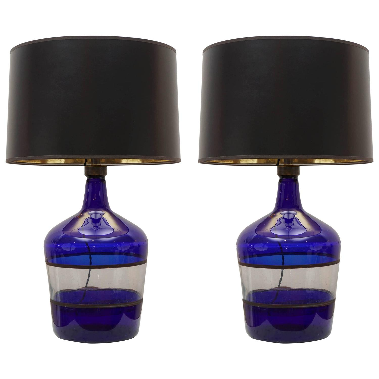 vintage cobalt glass jug lamp at 1stdibs. Black Bedroom Furniture Sets. Home Design Ideas