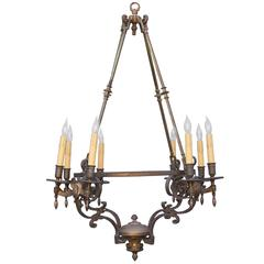 1910, Large-Scale Brass Chandelier