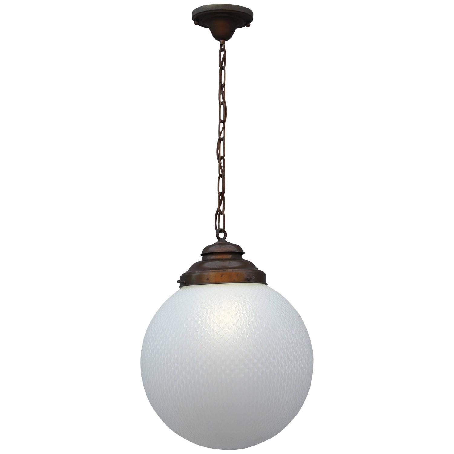 1 Of 2 Outstanding Industrial Large Scale Glass Pendant